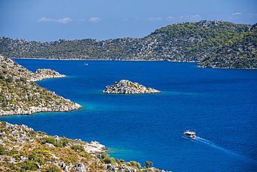 Gulet sailing boat in Kekova Bay, Antalya Province, Lycia, Anatolia, Mediterranean Sea, Turkey, Asia Minor, Eurasia