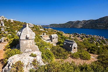 Lycian Sarcophagus, Sunken City of Kekova, Antalya Province, Lycia, Anatolia, Mediterranean Sea, Turkey, Asia Minor, Eurasia