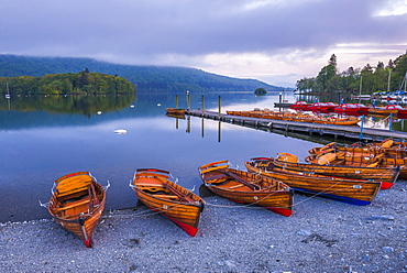 Rowing boats at Windermere at sunset, Lake District National Park, UNESCO World Heritage Site, Cumbria, England, United Kingdom, Europe