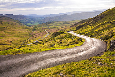 Hardknott Pass in Lake District National Park, UNESCO World Heritage Site, Cumbria, England, United Kingdom, Europe
