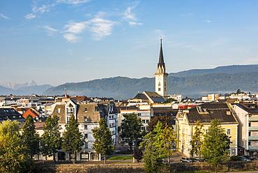 Church of St. Jakob rising above Villach skyline, Carinthia, Austria, Europe