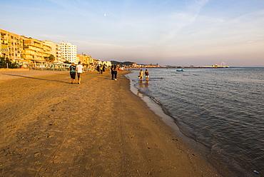 Beach at sunset, Durres (Epidamnos and Dyrrachium), Adriatic Coast, Albania, Europe