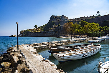 Harbor by Old Fortress in Corfu, Greece, Europe