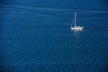 Yacht at sea off of Corfu, Greece, Europe