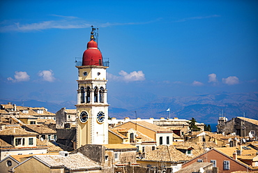 Cityscape of Corfu's old town with clock tower in Greece, Europe