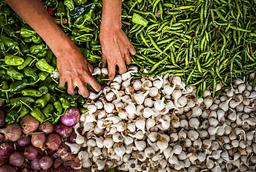 Fruit and vegetables for sale at Ywama Market, Inle Lake, Shan State, Myanmar (Burma), Asia
