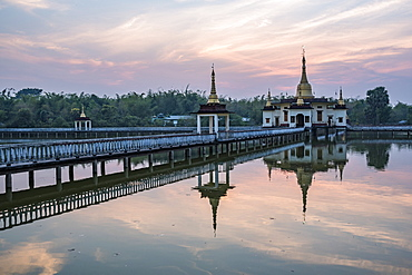 Snake Temple (Mwe Paya) at sunset, Dalah, across the river from Yangon (Rangoon), Myanmar (Burma), Asia