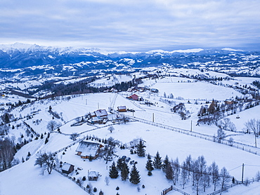 Snowy winter landscape in the Carpathian Mountains, Bran, Transylvania, Romania, Europe