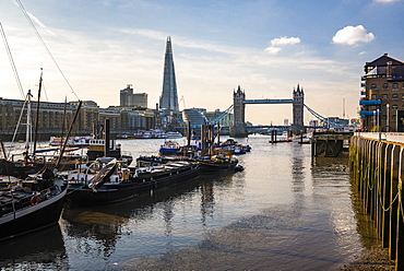 Tower Bridge and The Shard at sunset, seen behind the River Thames, Tower Hamlets, London, England, United Kingdom, Europe