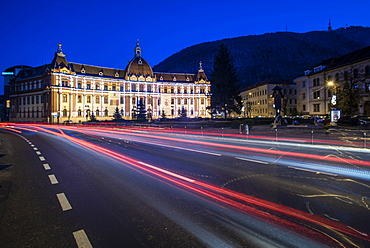 Town Hall in Brasov at night, Brasov County, Romania, Europe