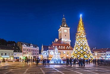 Brasov at night on New Years Eve, Brasov, Brasov County, Romania, Europe