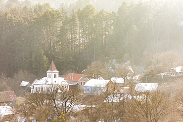 Viscri, seen from the Fortified church and fortress, UNESCO World Heritage Site, Transylvania, Romania, Europe