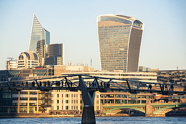 Millennium Bridge and Walkie Talkie building in The City of London, London, England, United Kingdom, Europe