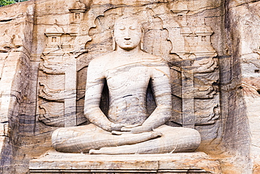 Seated Buddha in meditation, Gal Vihara Rock Temple, Polonnaruwa, UNESCO World Heritage Site, Sri Lanka, Asia
