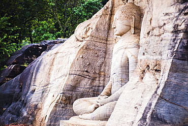 Seated Buddha in meditation at Gal Vihara Rock Temple, Polonnaruwa, UNESCO World Heritage Site, Sri Lanka, Asia