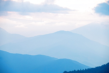 Mountainous Bhutan Landscape at dusk, Bhutan, Himalayas, Asia