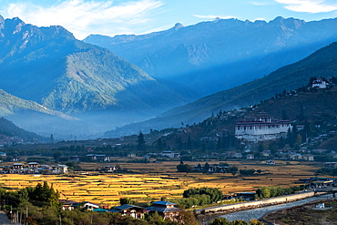 Sunrise across the Himalayas in Bhutan, Asia