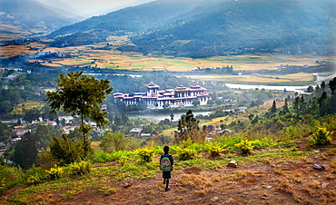 Young child looking down at Punakha Dzong, the second largest and second oldest dzong in Bhutan, Punakha, Bhutan, Asia