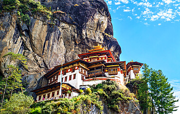 Tiger's Nest Monastery, a sacred Vajrayana Himalayan Buddhist site located in the upper Paro valley, Bhutan