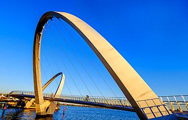 Elizabeth Quay Bridge, a 20-metre high suspension bridge, Perth City.