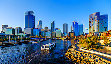Passenger ferry transporting people from South Perth to city centre through Elizabeth Quay.