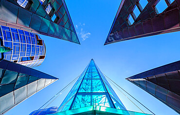 Looking up, skywards view of The Bell Tower, tourist attraction, Perth City, Western Australia, Australia, Pacific