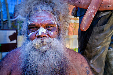 Portrait of Australian Aboriginal man with tribal paint, Perth, Western Australia, Australia, Pacific