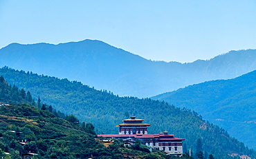 Dzong in the city of Paro, Bhutan, Himalayas, Asia