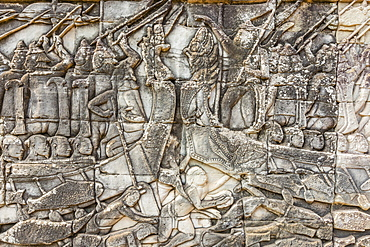 Bas-relief carvings in Bayon Temple in Angkor Thom, Angkor, UNESCO World Heritage Site, Siem Reap Province, Cambodia, Indochina, Southeast Asia, Asia