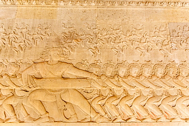 Bas-relief frieze at Angkor Wat, Angkor, UNESCO World Heritage Site, Siem Reap Province, Cambodia, Indochina, Southeast Asia, Asia