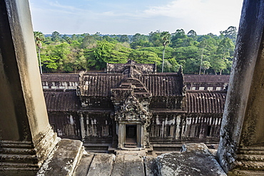 Upper terrace at Angkor Wat, Angkor, UNESCO World Heritage Site, Siem Reap Province, Cambodia, Indochina, Southeast Asia, Asia
