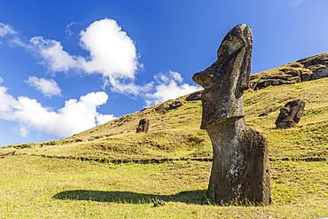 Rano Raraku, the quarry site for all moai statues on Easter Island (Isla de Pascua) (Rapa Nui), UNESCO World Heritage Site, Chile, South America