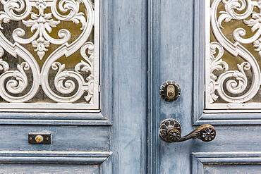 Door detail in the town of Visby, Gotland Island, Sweden, Scandinavia, Europe