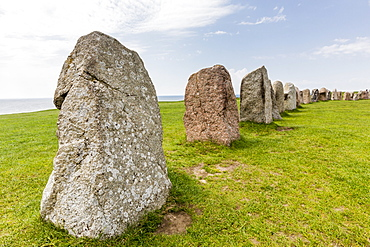The standing stones in a shape of a ship known as Als Stene (Aleos Stones) (Ale's Stones), Baltic Sea, southern Sweden, Scandinavia, Europe