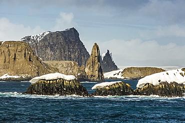 Dramatic reefs and islets in English Strait, South Shetland Island Group, Drake Passage, Antarctica, Polar Regions