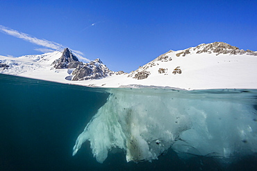 Above and below view of glacial ice in Orne Harbor, Antarctica, Polar Regions