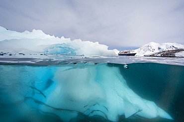 Above and below view of glacial ice near Wiencke Island, Neumayer Channel, Antarctica, Polar Regions
