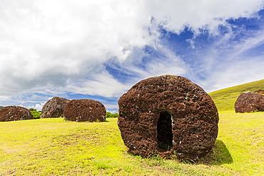 The red scoria quarry at Puna Pau, a cinder cone on the outskirts of Hanga Roa, Rapa Nui National Park, UNESCO World Heritage Site, Easter Island (Isla de Pascua), Chile, South America