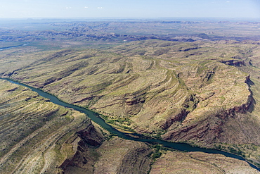Aerial view of the man-made Ord River between Lake Kununurra and a Diversion Dam built in 1972, Kimberley, Western Australia, Australia, Pacific