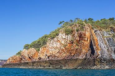 The 1.7 billion year old Elgee sandstone cliffs in Yampi Sound, Kimberley, Western Australia, Australia, Pacific