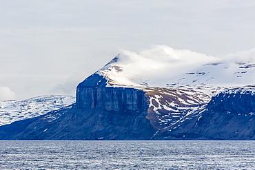 Steep cliffs filled with nesting birds on the south side of Bjornoya, Bear Island, Svalbard, Arctic, Norway, Scandinavia, Europe
