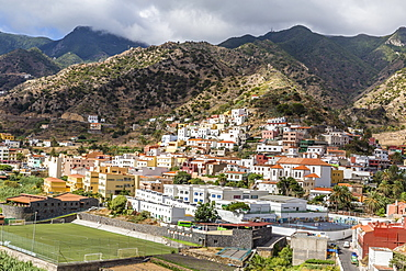 A view of Vallehermoso on the island of La Gomera, the second smallest island in the Canary Islands, Spain, Atlantic, Europe