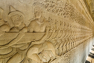 Bas-relief carvings from the Churning of the Sea of Milk myth, Angkor Wat, Angkor, UNESCO World Heritage Site, Siem Reap, Cambodia, Indochina, Southeast Asia, Asia