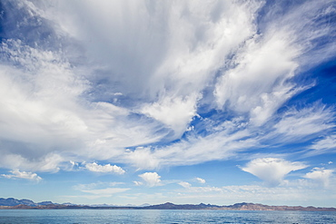 Intense cloud build up over Isla Santa Catalina, Baja California Sur, Mexico, North America