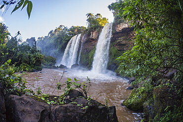 A view from the lower trail, Iguazu Falls National Park, UNESCO World Heritage Site, Misiones, Argentina, South America
