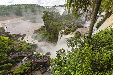 A view from the upper trail, Iguazu Falls National Park, UNESCO World Heritage Site, Misiones, Argentina, South America