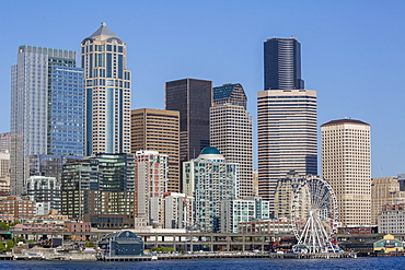 A view from Puget Sound of the downtown area of the seaport city of Seattle, King County, Washington State, United States of America, North America