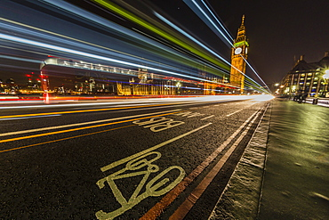 The Houses of Parliament and Big Ben from the Westminster Bridge at night, London, England, United Kingdom, Europe