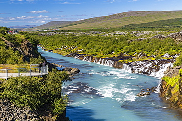 Hraunfossar, a series of waterfalls pouring into the Hvita River, Borgarfjordur, western Iceland, Polar Regions