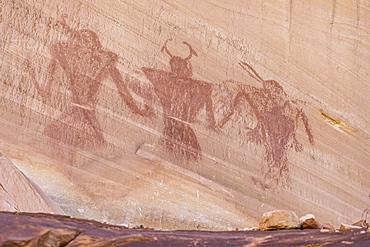 Native Pueblo rock art, Lower Calf Creek Falls Trail, Grand Staircase-Escalante National Monument, Utah, United States of America, North America
